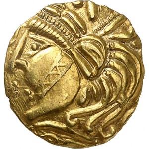 Aulerques Éburovices (fin de la guerre des Gaules). Quart de statère classe II, à la joue tatouée ND (80-50 av. J.-C.).