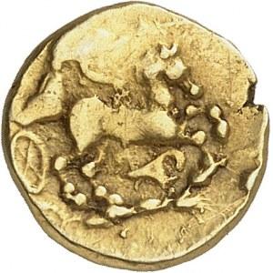 Bituriges Cubes ou Éduens. Quart de statère, type de Montmorot, à la tête à gauche ND (IIIe s. av. J.-C.).