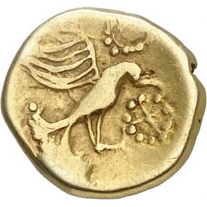 Carnutes (fin de la guerre des Gaules). Hémistatère à l'aigle et à la joue tatouée ND (60-40 av. J.-C.).