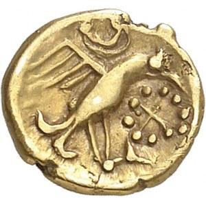 Carnutes (IIe - Ier siècle av. J.-C.). Huitième de statère à l'aigle et joue tatouée ND (c.60-40 av. J.-C.).