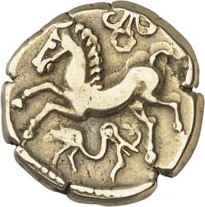 Arvernes (Ier siècle av J-C). Statère type II, au fleuron et à l'oiseau ND (60-40 av. J.-C.).