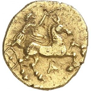 Arvernes/Helvètes-Séquanes. Quart de statère au triskèle, type de Besançon ND (IIIe s. av. J.-C.).