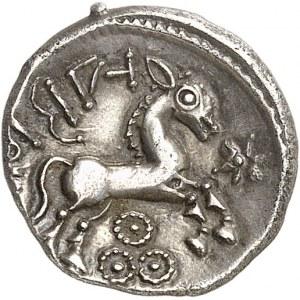 Suessions (fin du IIe s. av. J.-C. jusqu'à la Guerre des Gaules). Denier NIDE-ALABRODIIOC, classe I ND (c.60-50 av. J.-C.).
