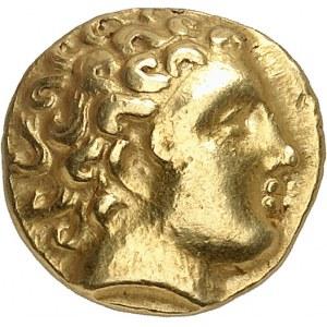 """Namur, sud-est de la Belgique. Hémistatère, imitation de Philippe, dit """"à la fleur"""" ND (250-220 av. J.-C.)."""