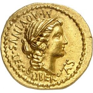Cassia, Caius Cassius Longinus. Aureus ND (43-42 av. J.-C.), atelier itinérant d'Asie Mineure.