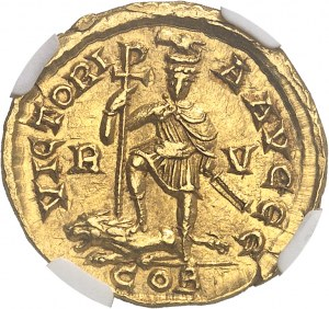 Honorius (393-423). Solidus au buste casqué 408-423, Ravenne.