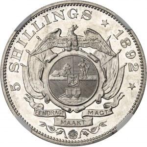 Afrique du sud (République d'). 5 shillings, double shaft, Flan bruni (PROOF) 1892.