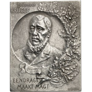 Afrique du sud (République d'). Plaquette uniface du président Krüger par S. Nilsson ND (c.1900 ?), Paris ?