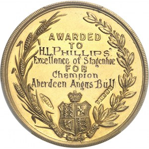 Afrique du sud (République d'). Médaille d'Or de la Witwatersrand Agricultural Society, avec attribution à H. L. Phillips 1921, Birmingham.
