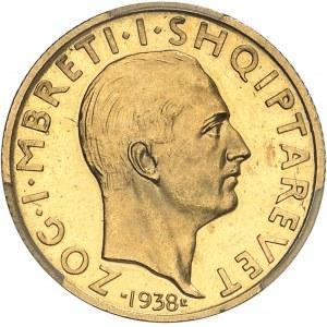 Zog Ier (1925-1939). 20 franga, 10e anniversaire de règne, aspect Flan bruni (Prooflike) 1938, R, Rome.