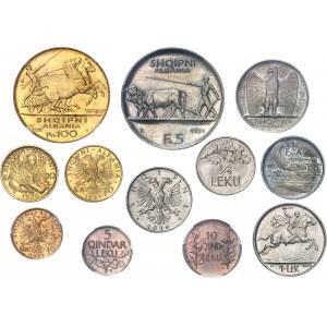 Zog Ier (1925-1939). Écrin de la Banque Nationale d'Albanie (B.N.A.) avec 100 franga, 20 franga (Skanderberg), 20 franga, 10 franga, 5 franga, 2 franga, 1 franga, 1 lek, 1/2 lek, 1/4 leku, 10 qindar leku, 5 qindar leku 1926-1927, Rome.