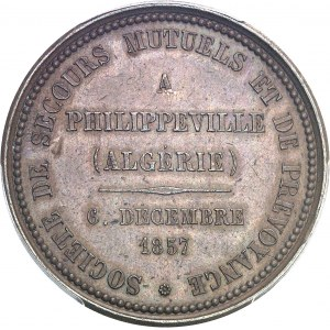 Second Empire / Napoléon III (1852-1870). Jeton de la Société de secours mutuels et de prévoyance de Philippeville 1857, Paris.
