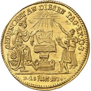 Augsbourg (ville libre de). Ducat ou médaille monétiforme au module d'un ducat, bicentenaire de la Confession d'Augsbourg 1730, Augsbourg.