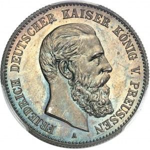 Prusse, Frédéric III (1888). 2 mark, Flan bruni (PROOF) 1888, A, Berlin.