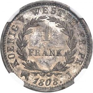 Westphalie, Jérôme Napoléon (1807-1813). 1 frank, Flan bruni (PROOF) 1808, J, Paris.