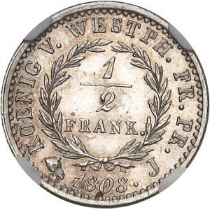 Westphalie, Jérôme Napoléon (1807-1813). 1/2 frank, Flan bruni (PROOF) 1808, J, Paris.