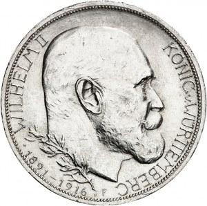 Wurtemberg, Guillaume II (1891-1918). 3 mark, 25e anniversaire de règne, Flan bruni (PROOF) 1916, F, Stuttgart.