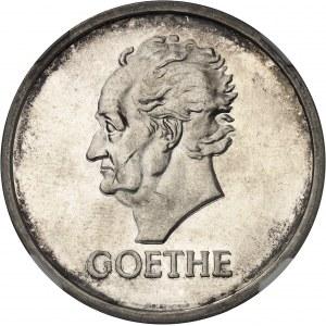 République de Weimar (Empire allemand) (1918-1933). 5 mark Johann Goethe, Flan bruni (PROOF) 1932, D, Munich.