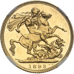 Victoria (1837-1901). Souverain, type jubilé de la Reine, aspect Flan bruni (PROOFLIKE) 1893, M, Melbourne.