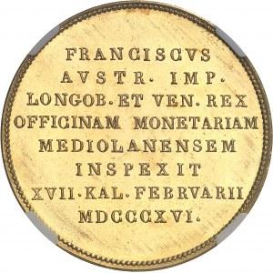 François Ier (1792-1835). Médaille d'Or, Visite d'inspection à la Monnaie de Milan 1816, Milan.