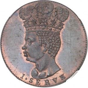 Barbade, sous administration britannique (1627-1966). Jeton monétiforme au module d'1/2 penny, refrappe, Flan bruni (PROOF) 1792.