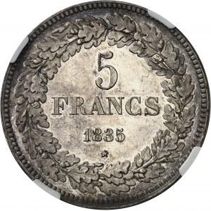 Léopold Ier (1831-1865). 5 francs 1835, Bruxelles.