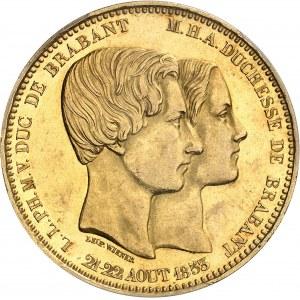 Léopold Ier (1831-1865). Module de 100 francs en Or, mariage du duc et de la duchesse de Brabant, d'aspect Flan bruni (Prooflike) 1853, Bruxelles.