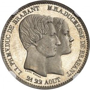 Léopold Ier (1831-1865). 10 centimes, mariage du duc et de la duchesse de Brabant, Flan bruni (PROOF) 1853, Bruxelles.