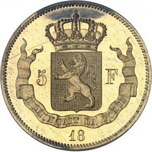 Léopold Ier (1831-1865). Essai de 5 francs en bronze doré par F. Distexhe 18-- (1847), Bruxelles.