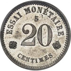 Léopold Ier (1831-1865). Essai de 20 centimes au lion par Braemt, contremarqué 5 1859, Bruxelles.
