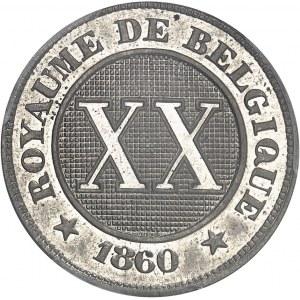 Léopold Ier (1831-1865). Essai de 20-XX centimes au lion par Braemt 1860, Bruxelles.