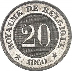 Léopold Ier (1831-1865). Essai de 20-20 centimes au lion par Braemt 1860, Bruxelles.
