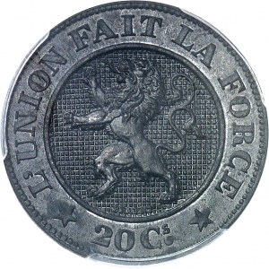Léopold Ier (1831-1865). Essai de 20 centimes en zinc par L. Wiener et Braemt 1860, Bruxelles.