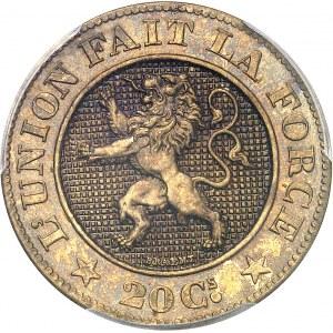 Léopold Ier (1831-1865). Essai de 20 centimes en bronze-aluminium par L. Wiener et Braemt 1860, Bruxelles.