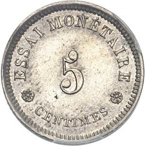 Léopold Ier (1831-1865). Essai de 5 centimes au lion par Braemt 1859, Bruxelles.