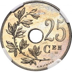 Léopold II (1865-1909). 25 centimes, légende flamande, Flan bruni (PROOF) 1908, Bruxelles.