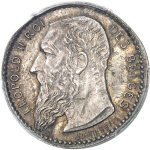 Léopold II (1865-1909). Épreuve uniface d'avers de 2 francs par Th. Vinçotte, sur flan mince ND (1904), Bruxelles.