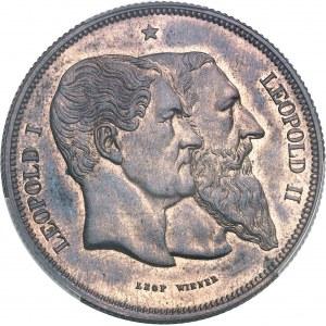 Léopold II (1865-1909). Module 5 francs, cinquantenaire du royaume, frappe monnaie 1830-1880, Bruxelles.