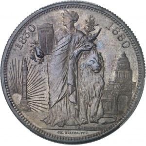 Léopold II (1865-1909). Module 5 francs, cinquantenaire du royaume, frappe médaille 1830-1880, Bruxelles.