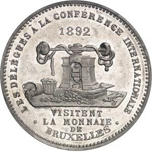 Léopold II (1865-1909). Module de 5 francs, visite de la Monnaie par les délégués à la Conférence internationale 1892, Bruxelles.
