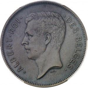 Albert Ier (1909-1934). Essai de 20 francs ou 4 belgas légende française en bronze, flan mat 1931, Bruxelles.