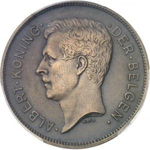Albert Ier (1909-1934). Essai de 20 francs ou 4 belgas légende flamande en bronze, flan mat 1931, Bruxelles.
