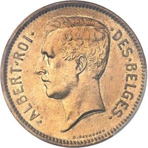 Albert Ier (1909-1934). Essai de 5 francs ou 1 belga légende française en bronze, flan mat 1932, Bruxelles.