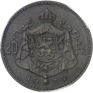 Albert Ier (1909-1934). Essai de 20 francs légende flamande en bronze, par G. Devreese, flan mat 1934, Bruxelles.