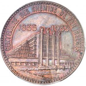 Albert Ier (1909-1934). Essai de 50 francs Exposition du centenaire des chemins de fer belges légende française en bronze 1935, Bruxelles.
