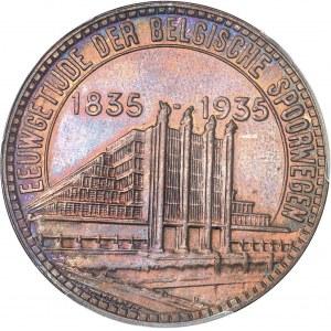 Albert Ier (1909-1934). Essai de 50 francs Exposition du centenaire des chemins de fer belges légende flamande en bronze 1935, Bruxelles.
