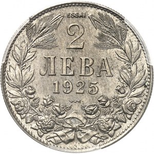 Boris III (1918-1943). Essai de 2 leva 1925, Poissy (éclair).