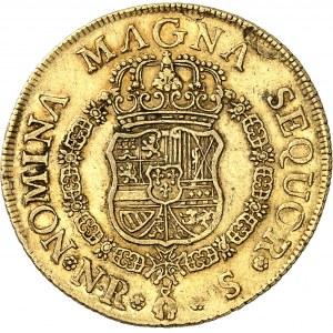 Ferdinand VI (1746-1759). 8 escudos, frappe au balancier 1755 S, NR, Nuevo Reino (Santa Fé de Bogota).