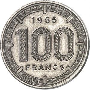 Alphonse Massamba-Débat (1963-1968). Pré-série sans le mot ESSAI de 100 francs antilopes par Bazor 1965, Paris.