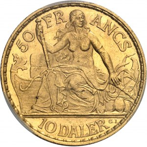 Indes occidentales danoises, Christian IX (1863-1906). 50 francs / 10 daler 1904, Copenhague.